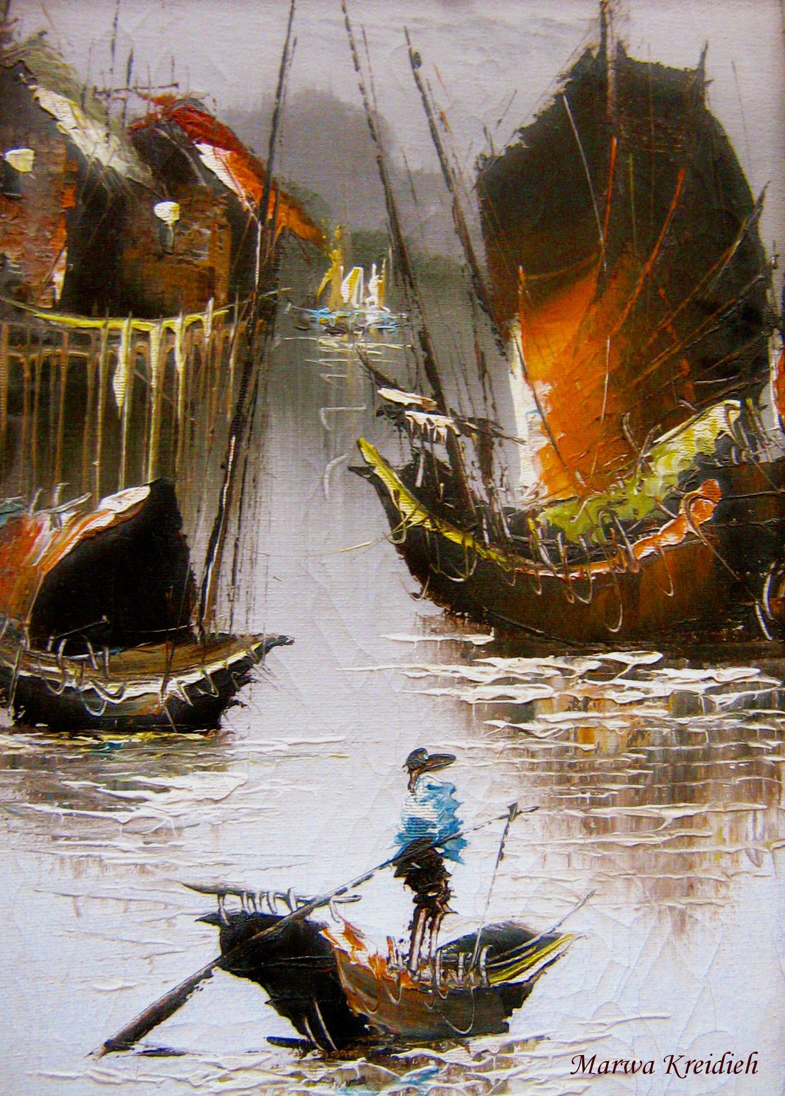 Le pêcheur du crépuscule - Dessiner  par : marwa kreidieh